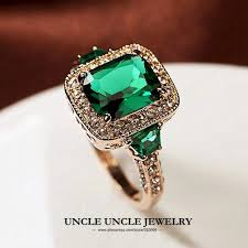man luxury rings images High quality man made green crystal luxury woman ring rose gold jpg