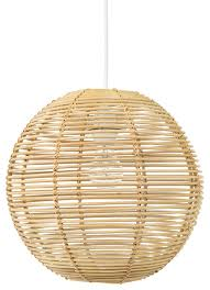 Tropical Chandelier Lighting Palau Continuous Weave Wicker Ball Pendant Lamp Natural