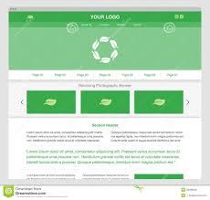 website homepage design green modern responsive website template stock vector image