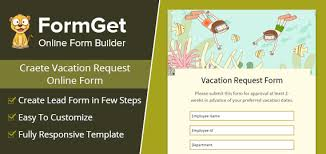 formget create vacation request form for offices u0026 organization