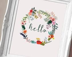 floral wreath print etsy