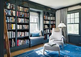 Dark Bookcase Blue Paneled Den With Dark Blue Built In Bookcases Transitional