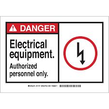 brady part 21727 danger electrical equipment authorized