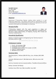indian resume format for freshers it resume cover letter sample