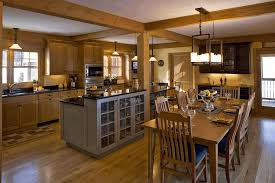 open kitchen design with living room uniquely red pendant light