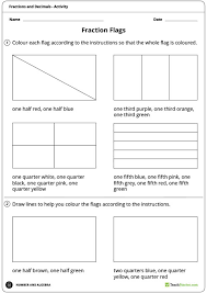 fraction flags worksheet teaching resource maths year 3 4