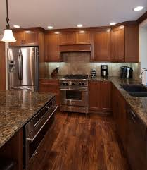 stained kitchen cabinets with hardwood floors kitchen cabinets littlerock wa cabinets by trivonna