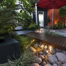 lowes round rock for a contemporary landscape with a landscape and