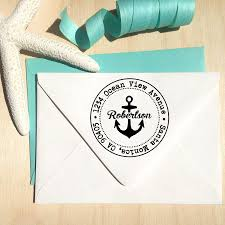 anchor nautical address stamp in a circle great personalized gift