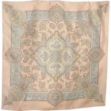vintage liberty of london pastel paisley silk scarf made in