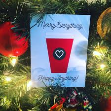 sale starbucks non religious funny holiday greeting card