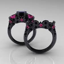 black engagement ring set black pink sapphire engagement ring wedding band set rs