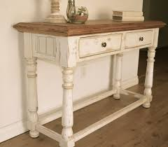 distressed white console table farmhouse style console table distressed white paint light stain