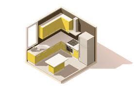 basse cuisine icône isométrique de pièce de cuisine de vecteur basse poly