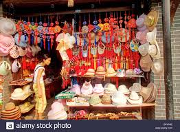 local souvenir store selling straw hats and ornaments