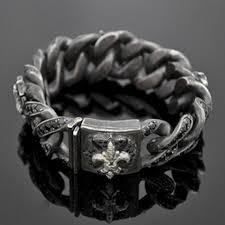 mens black link bracelet images Black sapphire grey diamond fleur de lis cuban link bracelet jpg&a
