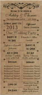 rustic wedding program templates rustic typography wedding programs 6 bridesmaids program