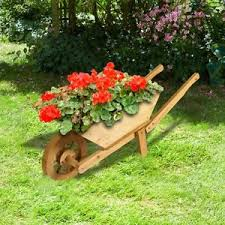 wooden wheelbarrow planter wheelbarrow plant pot wood flower pot