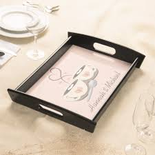 wedding serving trays monogrammed coffee cup hearts wedding serving trays