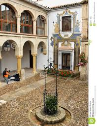 spanish house patio of the ancient spanish house editorial stock image image
