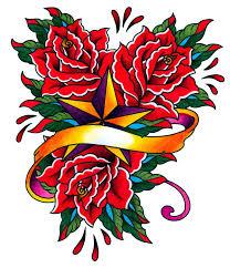 Nautical Star Tattoo Ideas Unique Red Roses With Ribbon And Nautical Star Tattoo Design