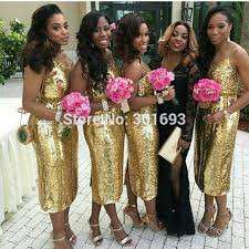 gold yellow bridesmaid dresses high cut wedding dresses