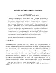 quantum metaphysics a new paradigm pdf download available