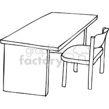 Black Desk And Chair Royalty Free Black And White Outline Of A Chair And Desk 382843