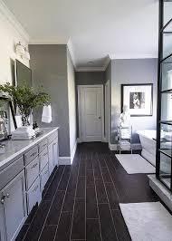 Wood Bathroom Etagere Dark Wood Like Tiled Bathroom Floor Transitional Bathroom
