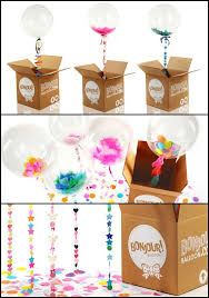 send a balloon in a box usa confetti balloons with fancy strings put one in a box or many