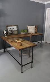 Furniture Unpolished Oak Wood Computer Desk Placed On Light Gray by Industrial L Shaped Desk Wood Desk Pipe Desk Reclaimed By Dendroco