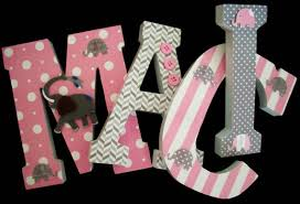 Letter Decorations For Nursery Elephants Pink Grey Wood Letters Wall Letters Nursery Decor