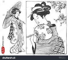 set japan design elements japanese woman stock vector 344897312