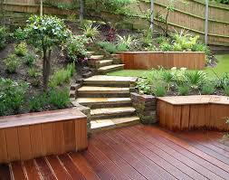 beauteous front gardens designs with white wooden fence combined