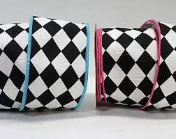 black and white wired ribbon harlequin ribbon etsy
