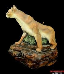 mountain lion statue detailed mountain lion on rock painted wildlife