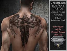 second life marketplace back tattoo guardian angel aesthetic