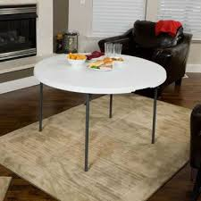 48 in light commercial round fold in half plastic table with