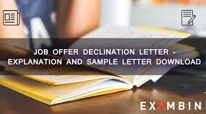 job offer declination letter exambin ibps ssc upsc preparations