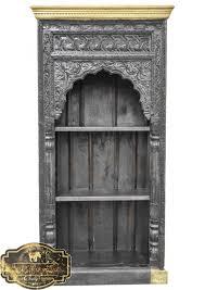 Timber Bookshelf Timber Hand Carved Indian Mehrab Antique Bookshelf