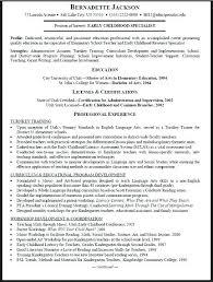 sample resume for early childhood teacher tty design k teacher