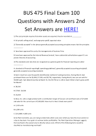 Stoichiometry Problems Worksheet Bus 475 Final Exam 100 Questions With Answers 2nd Set Answers Are Here