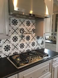 charming stylish black and white tile kitchen backsplash kitchen