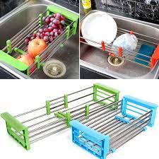 vegetable storage kitchen cabinets kitchen fruit vegetable drain basket home telescopic washing