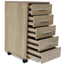 cassettiera da scrivania vidaxl cassettiera da ufficio con 4 ruote e 5 cassetti 33x38x63 cm