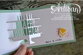 nice people stamp party with cake pop up birthday card