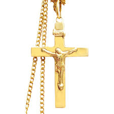 vintage 14 k gold jesus cross solid gold with a 16 inch 12 k gold