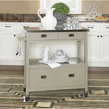 sydney kitchen island cart u2014 gray with stainless steel top www