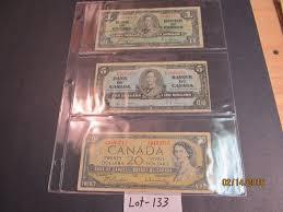 twenty five dollars 1 page of 3 canadian bills one 1937 one dollar bill one 1937