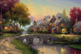 cobblestone bridge kinkade picture painting summer